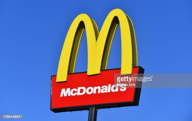 The American fast food company, McDonalds logo is seen outside one of its stores on November 13, 2020 in Stoke-on-Trent, Staffordshire .