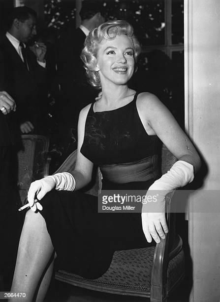 The American film actress Marilyn Monroe at a Press Conference at the Savoy Hotel in London to publicize her forthcoming film 'The Prince and the...