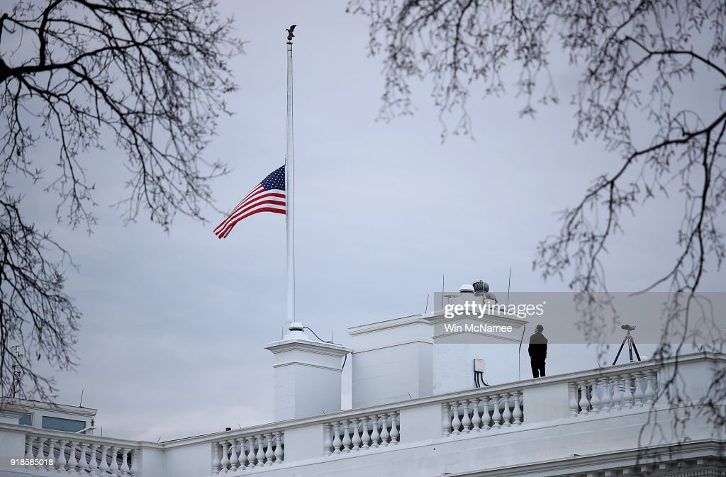 White House Flags At Half Staff Day After 17 Killed At School Shooting In Parkland, Florida : News Photo