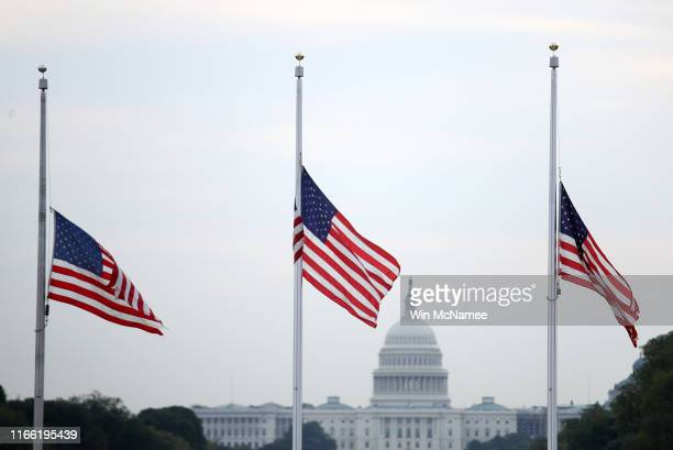 The American flag flies at half staff over the U.S. Capitol in memory of those killed in the recent mass shootings in El Paso, Texas and Dayton, Ohio...