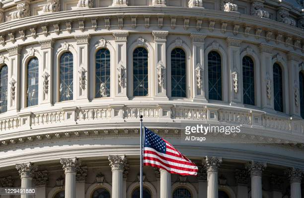 The American flag flies at the U.S. Capitol on November 6, 2020 in Washington, DC. The 2020 presidential race between incumbent U.S. President Donald...