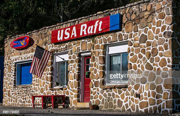 The American flag flies on the side of river rafting business as viewed on October 8 2015 near Hot Springs North Carolina Named one of the 'Top 10...
