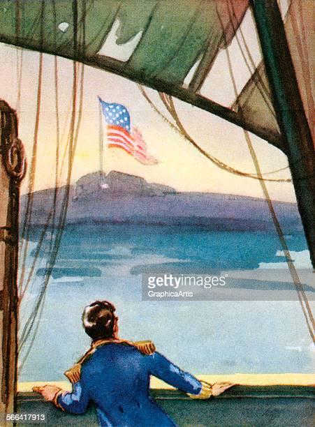 The American flag flying over Fort McHenry illustrating Francis Scott Key's 'The Star Spangled Banner' sreen print 1941