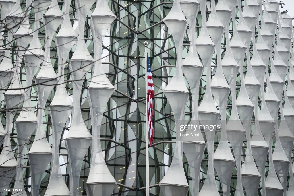 The American Flag Hangs At New US Embassy After Being Raised For First Time