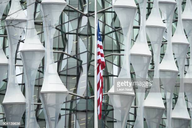 The American flag hangs at the new US embassy after being raised for the first time on January 12 2018 in London England President Trump has tweeted...