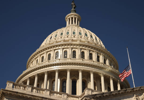 DC: Flag Over U.S. Capitol Flies At Half-Staff For Death Of Former Secretary Of State Colin Powell