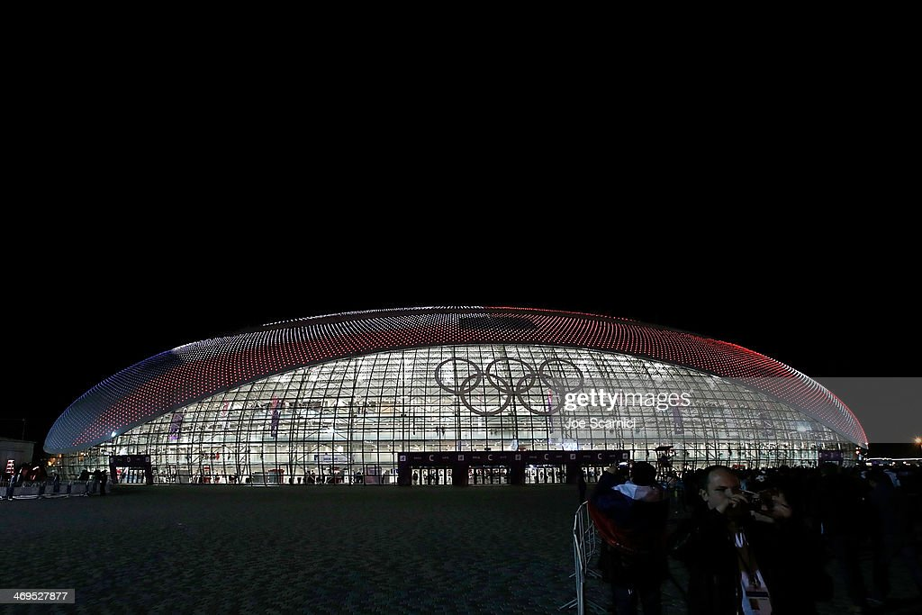 The American Flag is projected on the outside of the Bolshoy Ice Dome after the USA won a match versus Russia at the Olympic Park during the Sochi 2014 Winter Olympics on February 15, 2014 in Sochi, Russia.