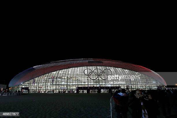 The American Flag is projected on the outside of the Bolshoy Ice Dome after the USA won a match versus Russia at the Olympic Park during the Sochi...