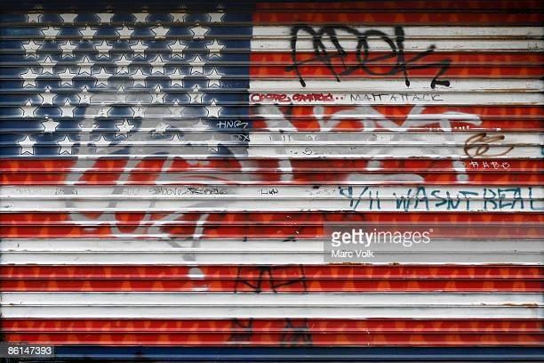 The American flag painted on a garage door
