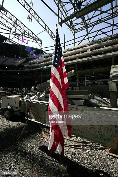 The American Flag rest on the steel beam that was signed by the workers to be raised to the roof during a topping off ceremony at the Prudential...