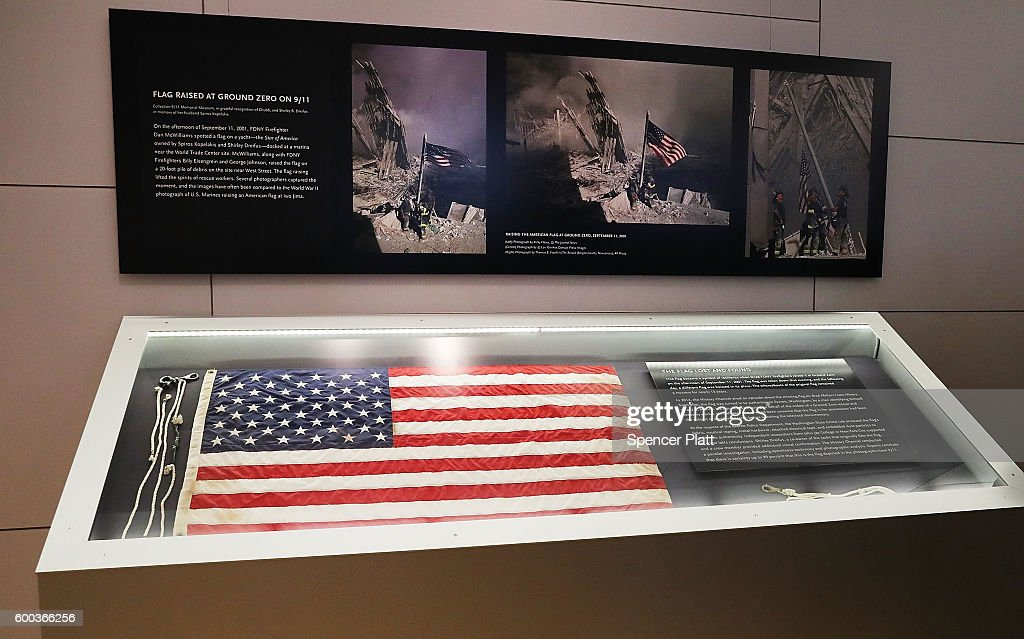 9/11 Memorial Museum Unveils Iconic Ground Zero Flag That Firefighters Are Shown Raising In Famous Photograph : News Photo