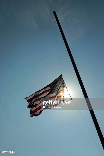 The American Flag waves before a game between the Mississippi State Bulldogs and the Tulane Green Wave on September 17 2005 at Independence Stadium...
