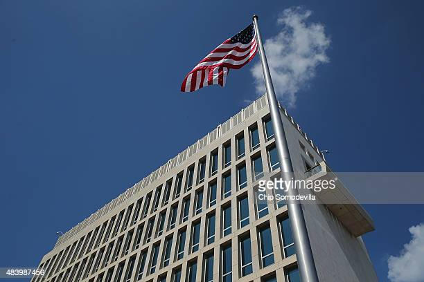 The American flay flys at the newly reopened U.S. Embassy following a ceremony August 14, 2015 in Havana, Cuba. The first American secretary of state...