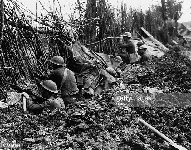 The American front line in the Meuse valley north of Verdun is protected by camouflage contributed by the Germans who left the terrain for another...