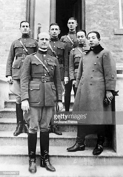 The American General CONNELL posing with Zhang XUELIANG son of the Manchu warlord Zhang ZUOLIN around 1929 to show the American army's support of the...