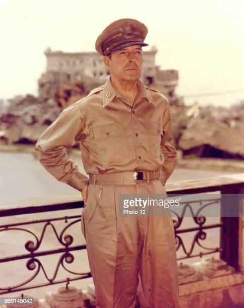The American General Douglas MacArthur in Manila after the recapture by the American forces 1945