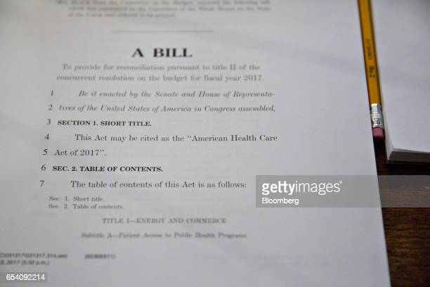 The American Health Care Act bill sits on a desk during a House Budget Committee markup hearing in Washington DC US on Thursday March 16 2017 While...