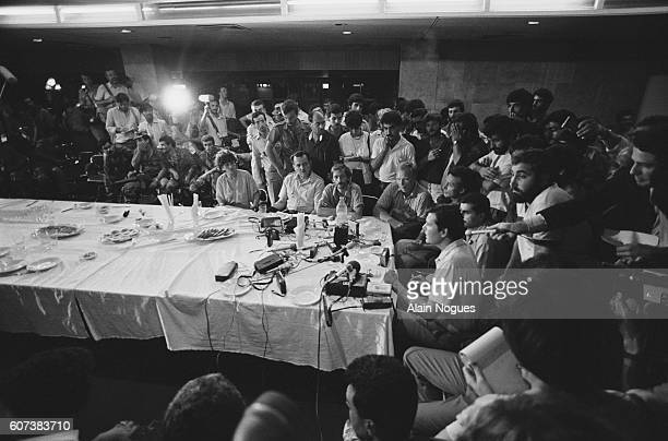 The American hostages of a hijacked Boeing liner are forced by terrorists to give a press conference in Beirut Lebanon after their TWA AthensRome...