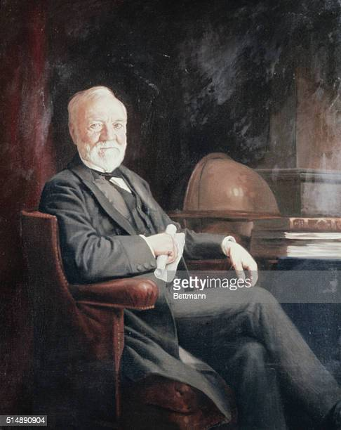 The American industrialist Andrew Carnegie in his office