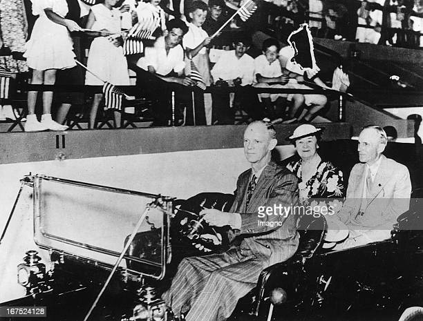 The American industrialist Henry Ford with his wife in the 'Model T' Shortly after his 75th Birthday a birthday party was organised in the 'Coliseum'...