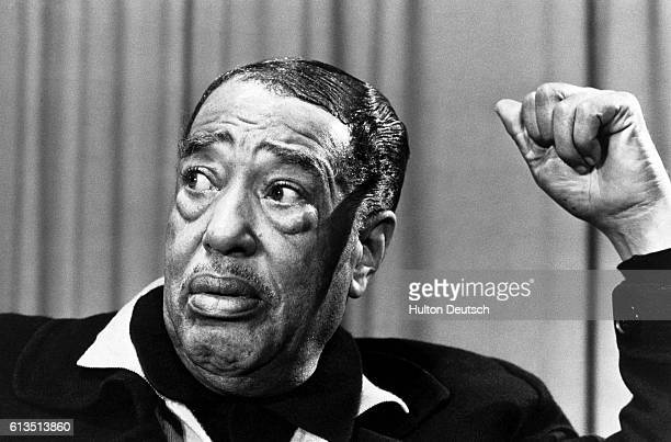 The American jazz pianist and composer Duke Ellington arrives at Heathrow Airport in London He is to perform a series of concerts as part of his...