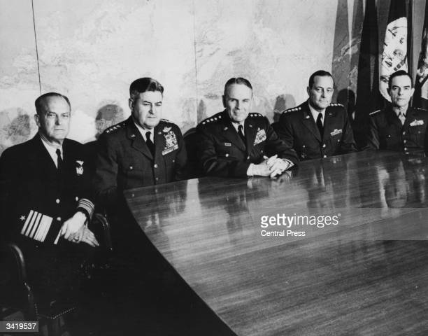 The American Joint Chiefs of Staff photographed in their office at the Pentagon in Washington Left to right Admiral David L McDonald Air Force...
