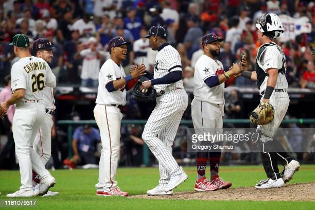 The American League AllStars celebrate defeating the National League AllStars 43 in the 2019 MLB AllStar Game presented by Mastercard at Progressive...