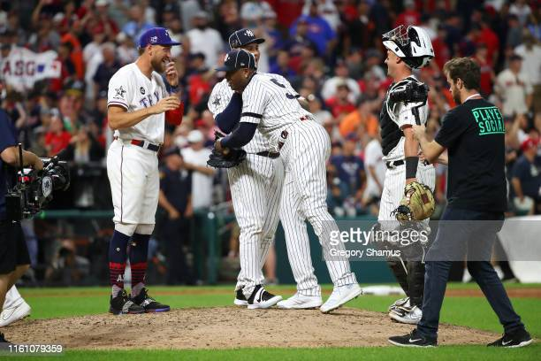 The American League All-Stars celebrate defeating the National League All-Stars 4-3 in the 2019 MLB All-Star Game, presented by Mastercard at...