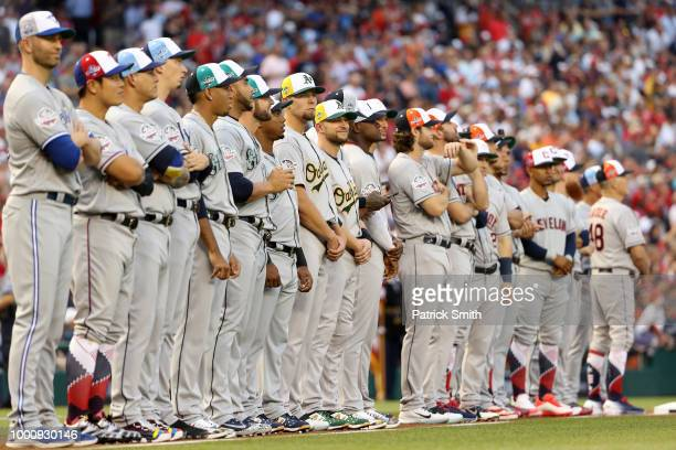 The American League AllStars look on during introductions before the 89th MLB AllStar Game presented by Mastercard at Nationals Park on July 17 2018...