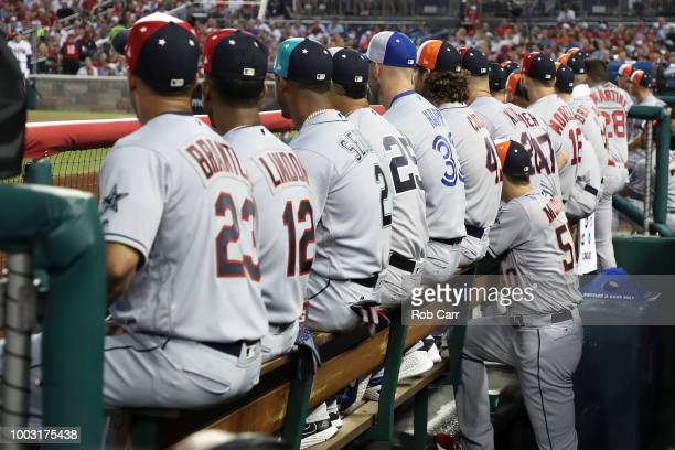 The American League bench during the 89th MLB AllStar Game presented by Mastercard at Nationals Park on July 17 2018 in Washington DC