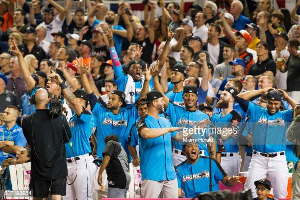 The American League bench reacts to an Aaron Judge home run at the MLB All Star Game Homerun Derby at Marlins Park on Mon July 10 2017
