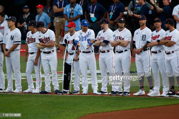 The American league lines up during the 2019 MLB All-Star Game at Progressive Field on July 09, 2019 in Cleveland, Ohio.