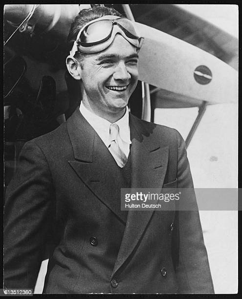 The American millionaire businessman film director and aviator Howard Hughes in his flying goggles 1936