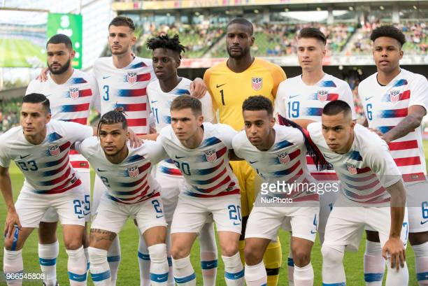 The American national football team poses for photo during the International Friendly match between Republic of Ireland and USA at Aviva Stadium in...