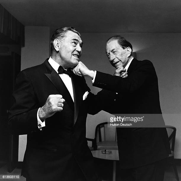 The American oil executive multimillionaire and art collector Jean Paul Getty I pretends to box with the former heavyweight champion Jack Dempsey 1967