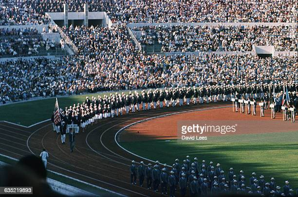 The American Olympic team marches at the opening ceremony of the 1960 Olympic Games in Rome, Italy.