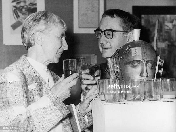 The American Painter And Photographer Man Ray With The German Dadaist Painter Hannah Hoch In Dusseldorf On September 4, 1958.