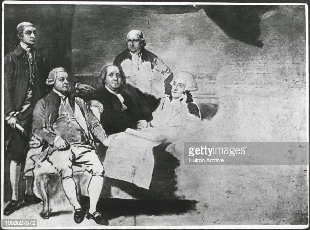 The American Peace Commissioners negotiating the Peace of Paris at the end of the American Revolutionary War circa 1782 John Jay John Adams Benjamin...