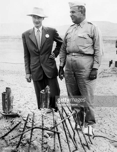 The American Physicist Robert Oppenheimer Scientific Director Of Manhattan Project And General Leslie Grove Military Director Of The Project In...