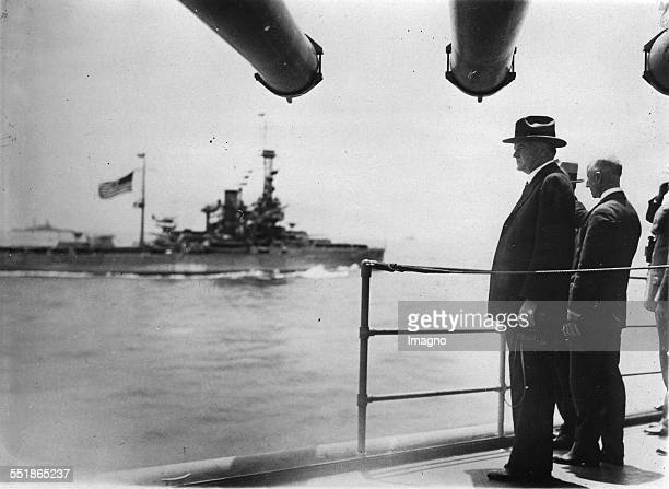 The American President Herbert Hoover on board of the cruiser SALT LAKE CITY. About 1931. Photograph.