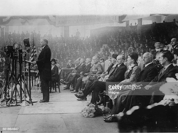 The American President Herbert Hoover speaks at a convention of the American Legion in Boston 16th October 1930 Photograph