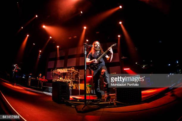 The american progressive metal band Dream Theater performs at Mediolanum Forum Assago The bassist John Myung Milan february 4 2017