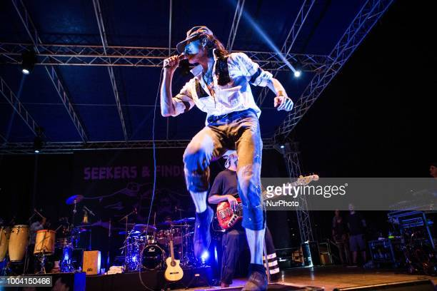 Eugene Htz of the american punk band Gogol Bordello performing live at Mojotic Festival 2018 in Sestri Levante Italy on 22 July 2018