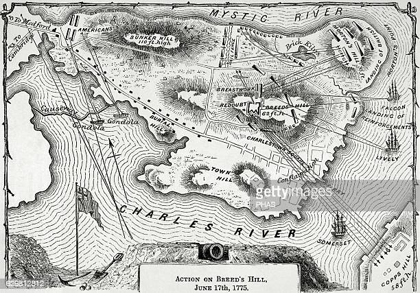 The American Revolutionary War Map of Action on Breed's Hill on June 17 1775 Engraving