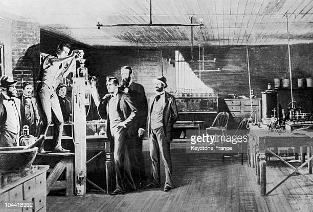 The American Scientist Thomas Edison Performing His First Demonstration Of His Incandescent Lightbulb In His Orange New Jersey Laboratory On October...