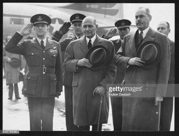 The American Secretary of State Mr Acheson and the Ambassador in London Mr Lewis Douglas at London Airport 1950