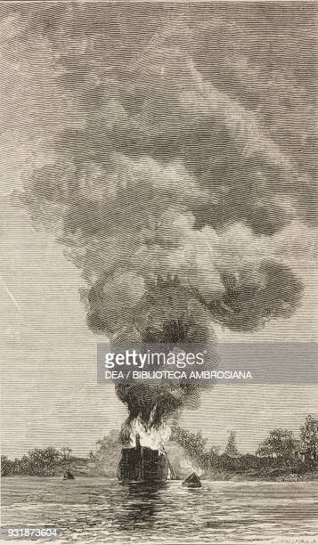 The American ship Aurora which first caught fire the great fire on the Hooghly river near Calcutta India illustration from the magazine The Graphic...