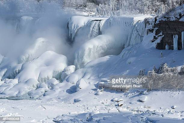 The American side of the Niagara Falls are almost completely frozen after a prolonged period of extreme cold on February 20 2015 in Niagara Falls...