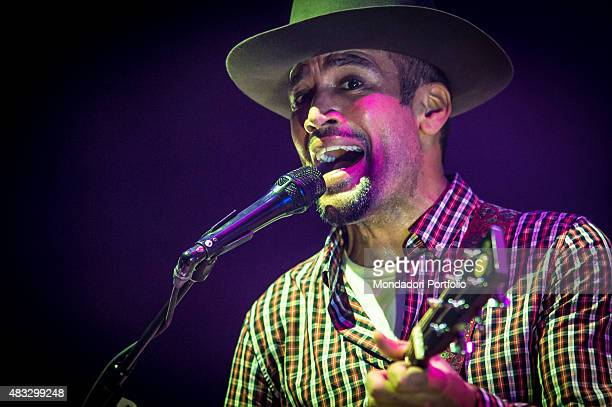 The American singer and musician Ben Harper singing during the concert at Assago Summer Arena and wearing a checked shirt and a Borsalino hat Assago...