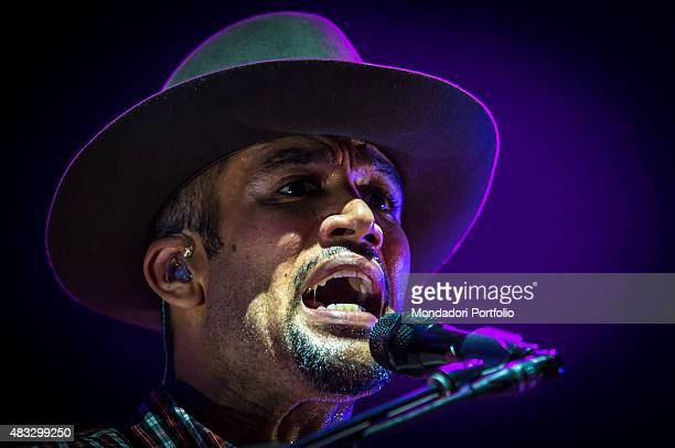 The American singer and musician Ben Harper singing during the concert at Assago Summer Arena and wearing a Borsalino hat Assago Milan 22nd July 2015